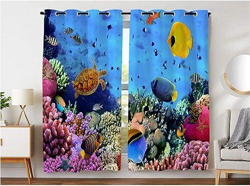 KLRI Curtains Blackout 2 Panel Top Grommet Window Coverings Darkening 42 x 63 Inch Blue Turtle Fish