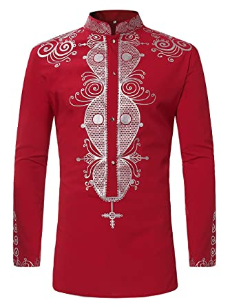 9dce32ad1ee Amazon.com  Luxfan Mens African Clothing Tribal Dashiki Traditional Maxi  Stand Collar Long Sleeves Dress Shirt Plus Size (Red