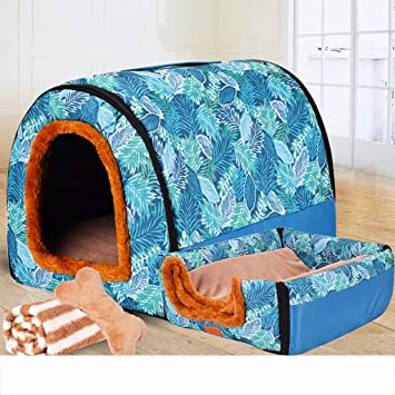 Nido para Mascotas, sofá/Cama, Tela Oxford Antideslizante + Perrera de algodón PP/caseta para Gatos, Azul - 5 tamaños: Amazon.es: Hogar