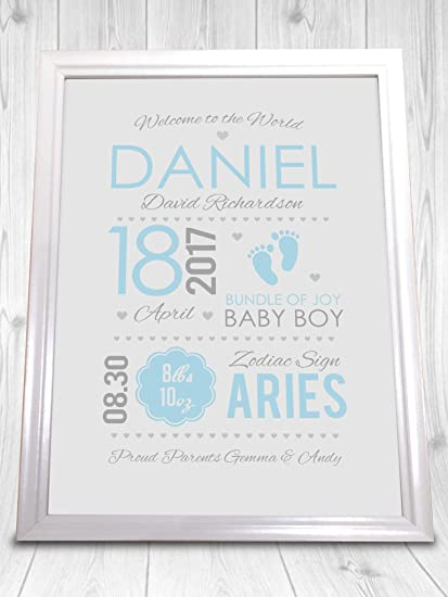 personalised BIRTH ANNOUNCEMENT print christening baby sign poster gift boy girl