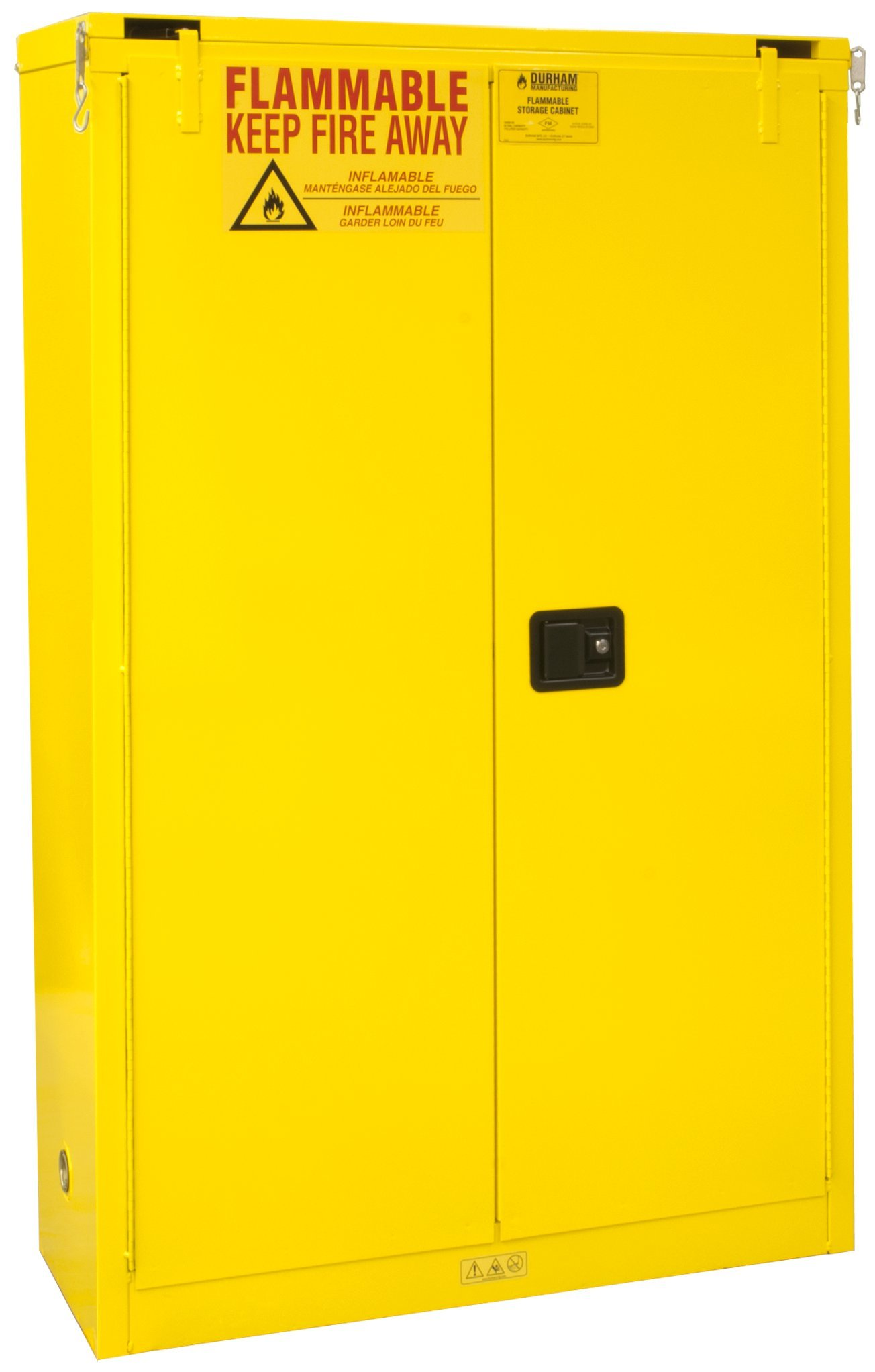 Durham FM Approved 1045S-50 Welded 16 Gauge Steel Flammable Safety Self Closing Door Cabinet, 2 Shelves, 45 gallons Capacity, 18'' Length x 43'' Width x 65'' Height, Yellow Powder Coat Finish