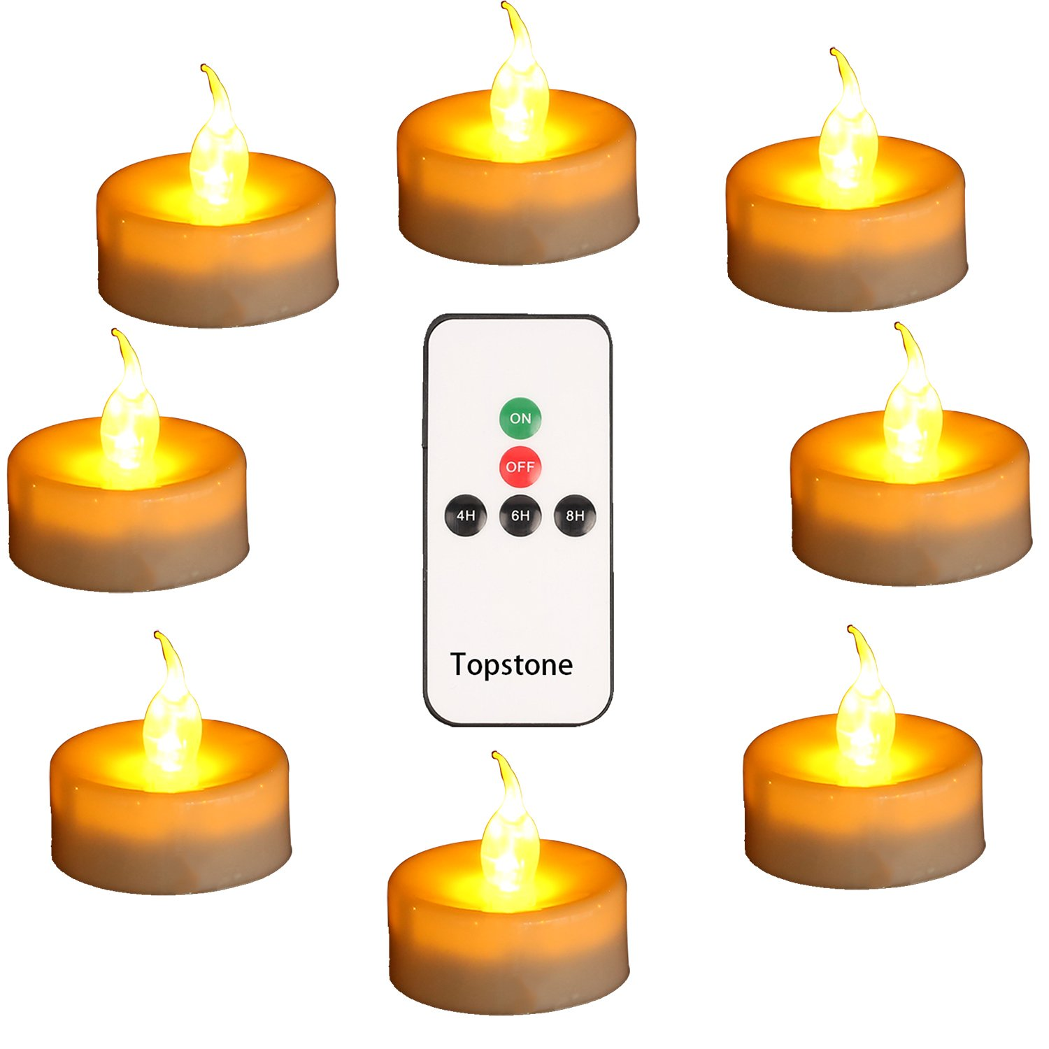 Topstone Pack of 12 Battery Powered LED Tealight Candles with 4H,6H,8H Timer and Remote Control,Amber Flickering Flame,Flameless Candles,Fake Candle for Parties,Wedding,Home Decor