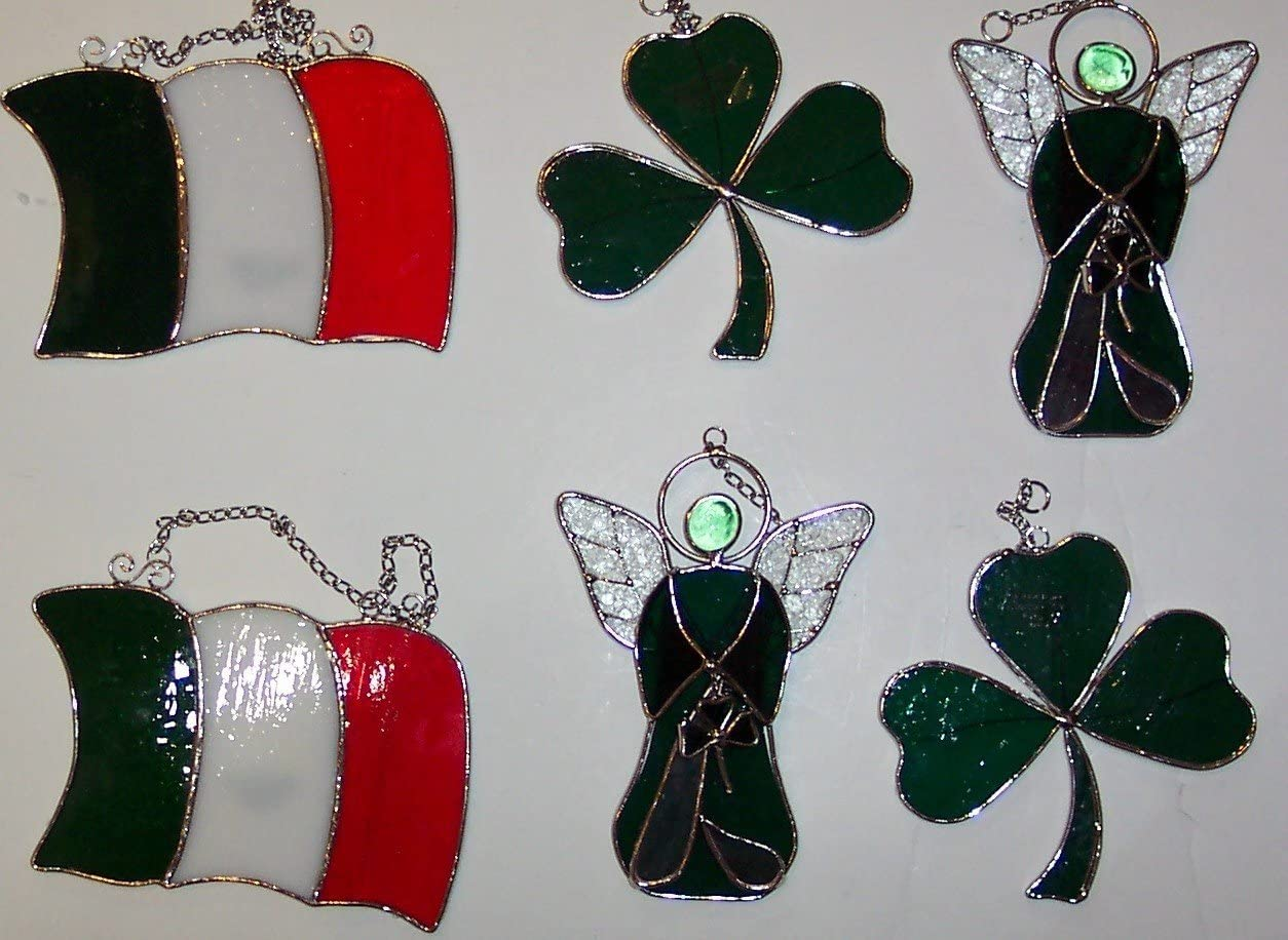 6-PIECE Stained Glass Irish Shamrock -Angel and Flag 9046-10