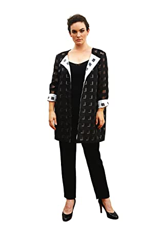 373c46c866dc4 Designer Plus Size Jacket «Bev» (Sizes 18-24). Black white check jacket  with 3d effect. Loose fit