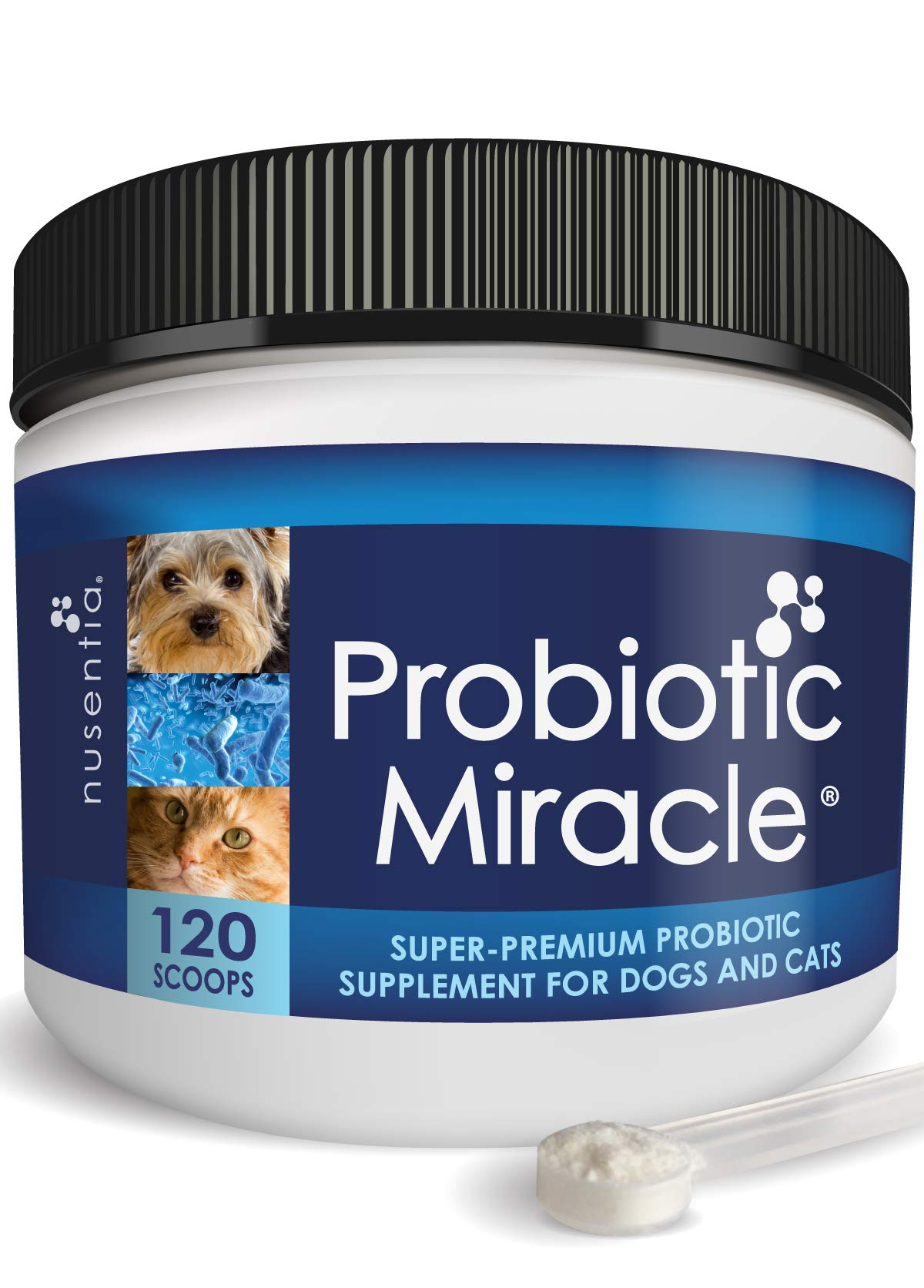 Probiotics for Cats, Dogs - 120 Scoops - Probiotic Miracle - Support Diarrhea, Loose Stool, Yeast, and More by NUSENTIA