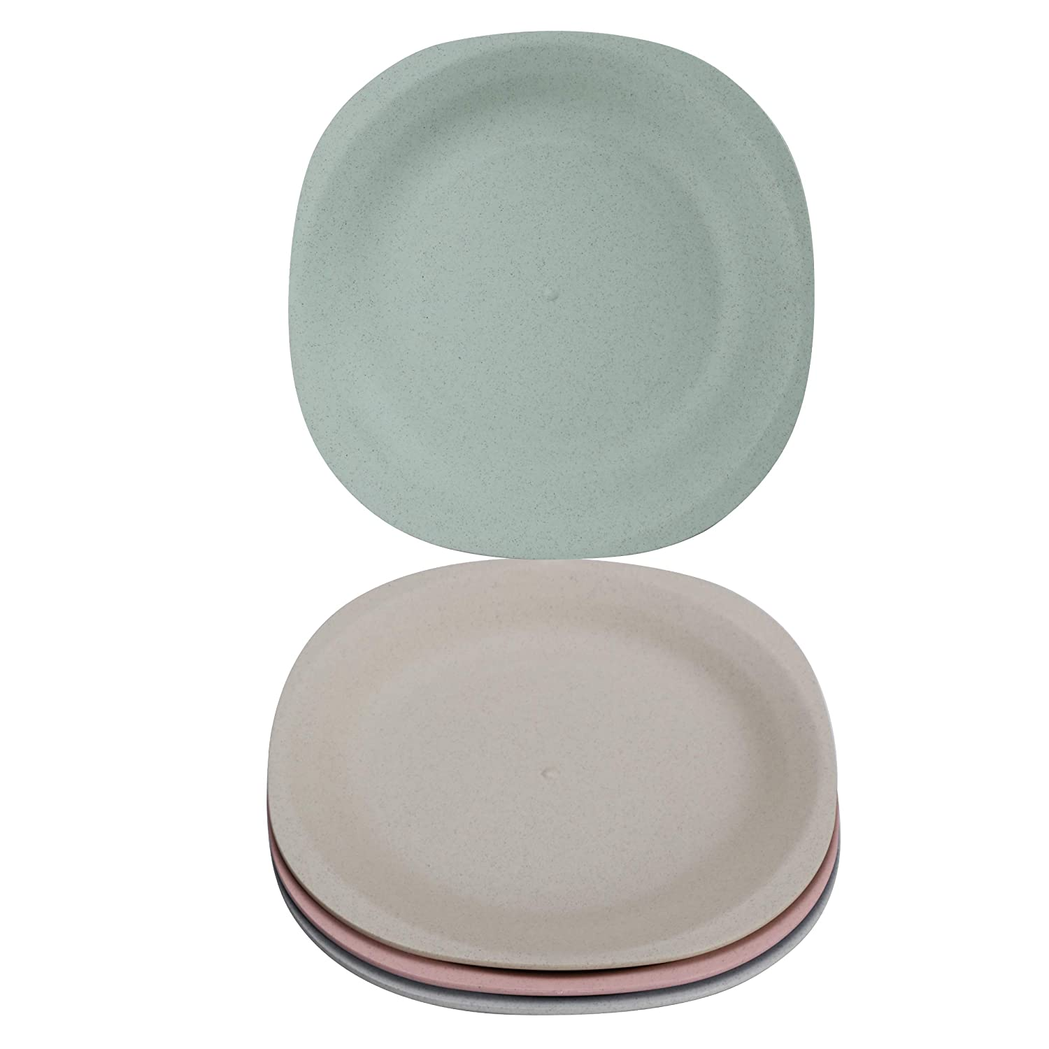 Brightbuy Wheat Straw Plates (4-pack) 7.28 inch, Unbreakable Non-Toxin Healthy Eco-Friendly Dishes, Dishwasher Microwave Safe Easy Clean Lunch Tableware Dinnerware Fruit Snack Containers