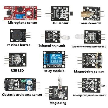Amazon.com: SunFounder Sensor de 12 módulos Arduino Kit para ...