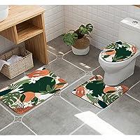 KOMLLEX Abstract Orange Bathroom Rug Set 3 Piece Leaves Fruit Flower Colorful Nature Plant Bath Contour Mat Toilet Lid…