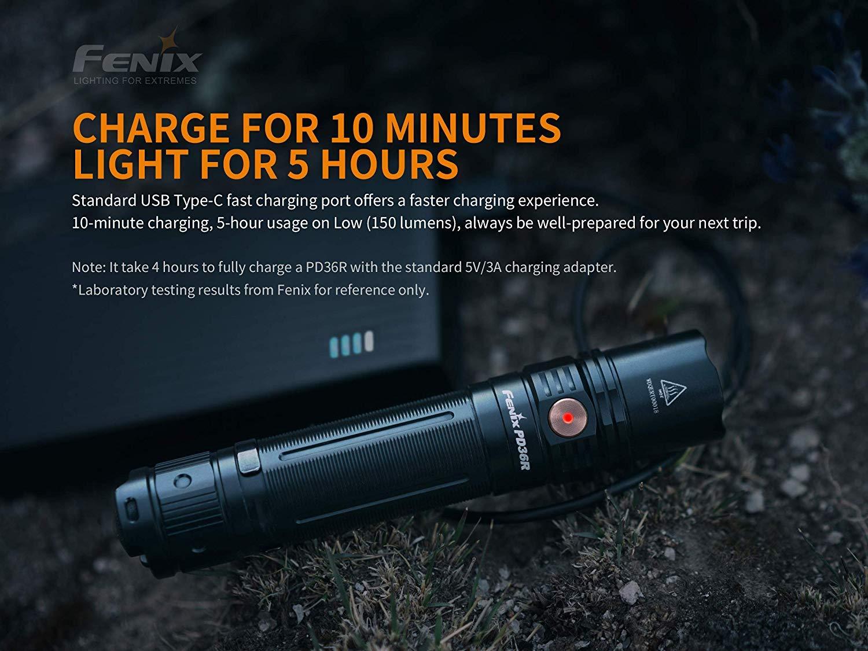 FENIX PD36R Lampe torche rechargeable Noir