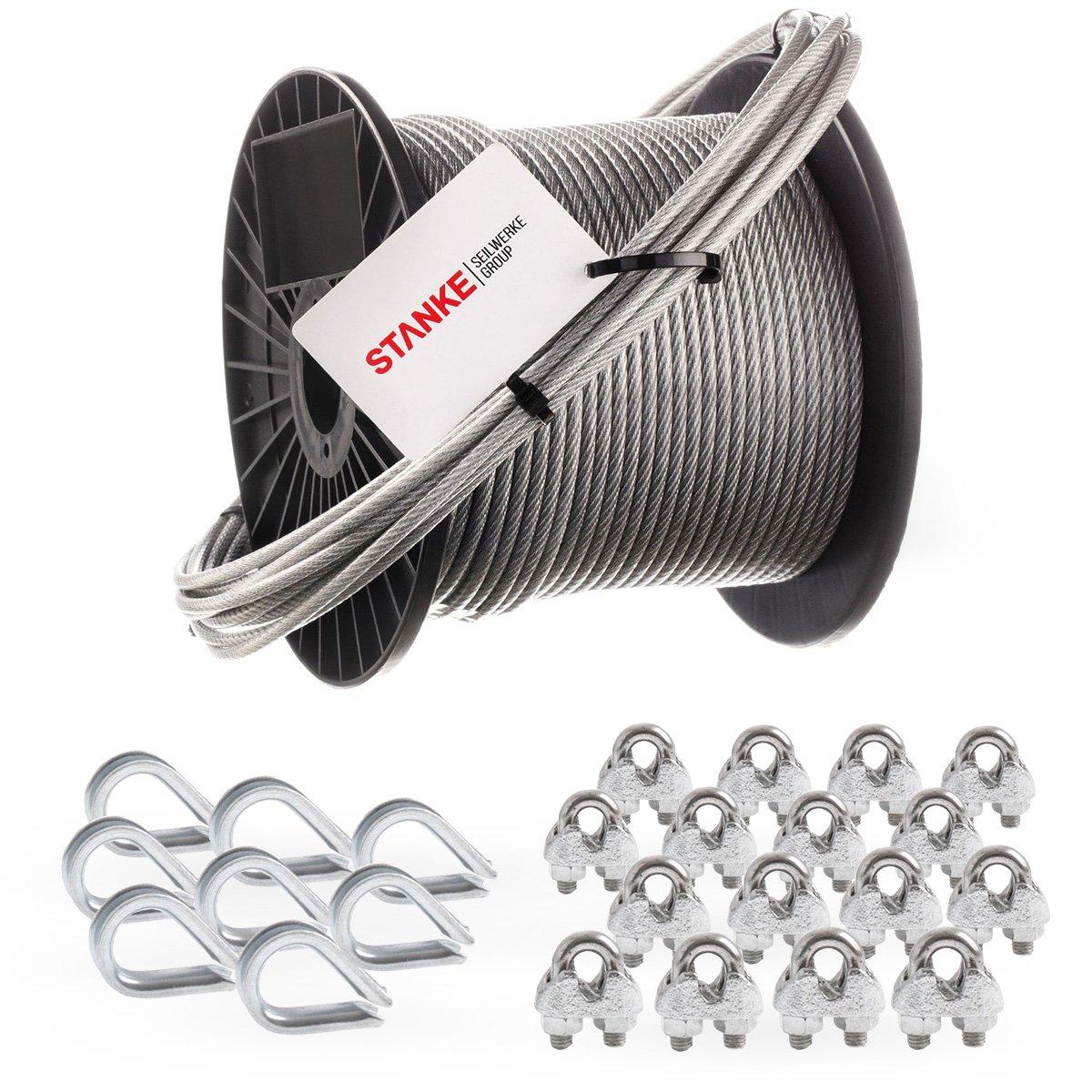 Seilwerk STANKE Rankhilfe PVC Drahtseil ummantelt verzinkt 10m Stahlseil 3mm 6x7, 8x Kausche, 16x Bü gelformklemme - SET 3
