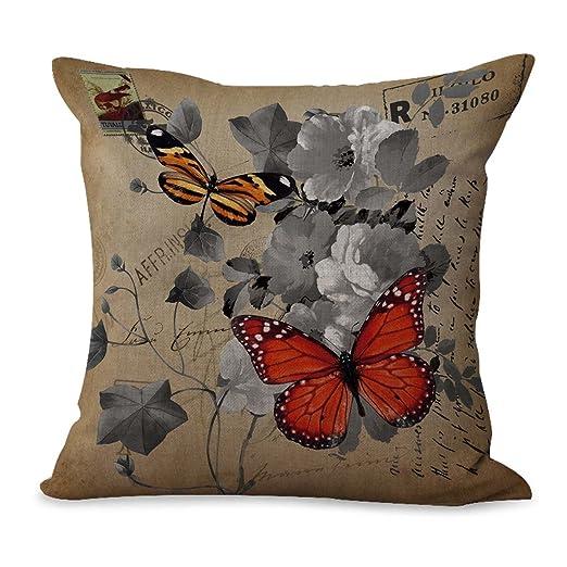 WholesaleSarong Retro Butterfly - Funda para cojín de Flores ...