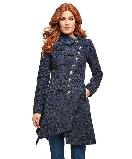 Manteau noir femme fermeture asymetrique