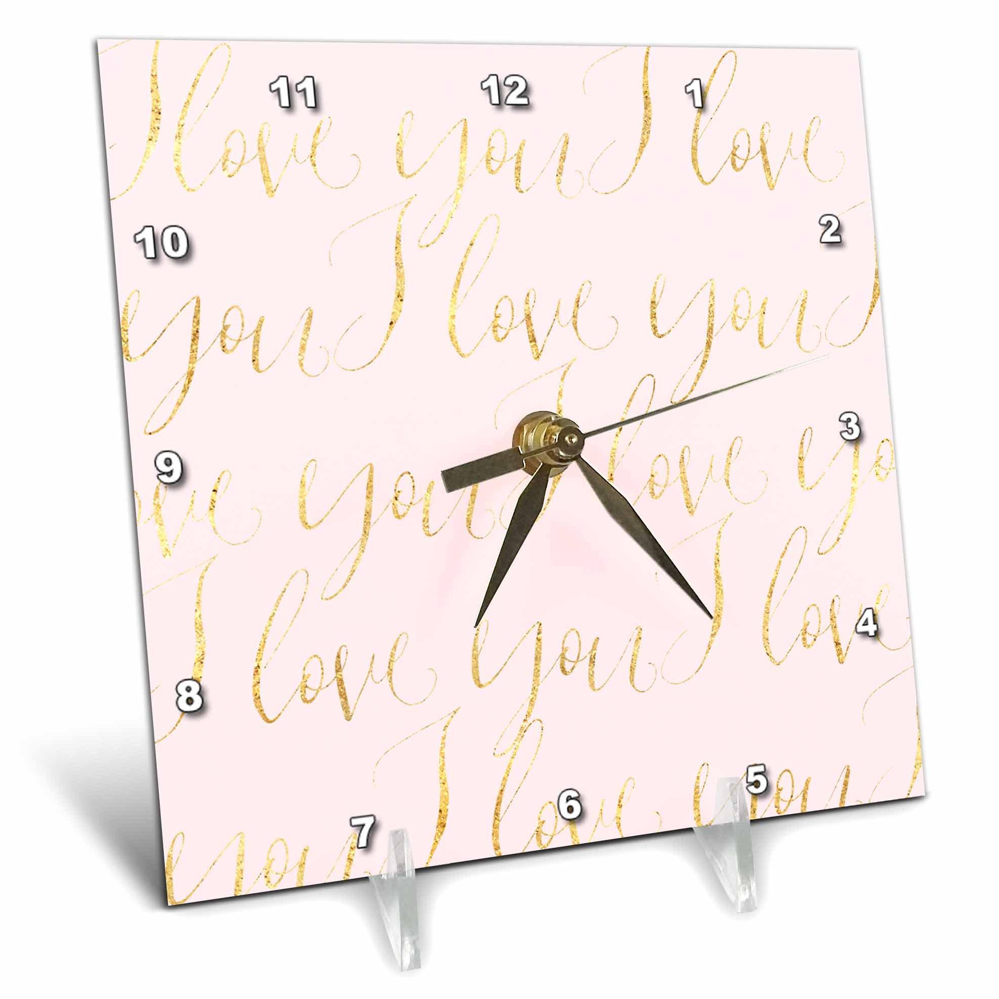 3dRose PS Inspiration - Image of Gold Pink I love You - 6x6 Desk Clock (dc_280699_1)