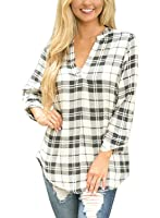 ZKESS Womens Casual Ladies V-Neck Cuffed 3 4 Long Sleeve Plaid Shirts Blouse Tops (S-XXL)