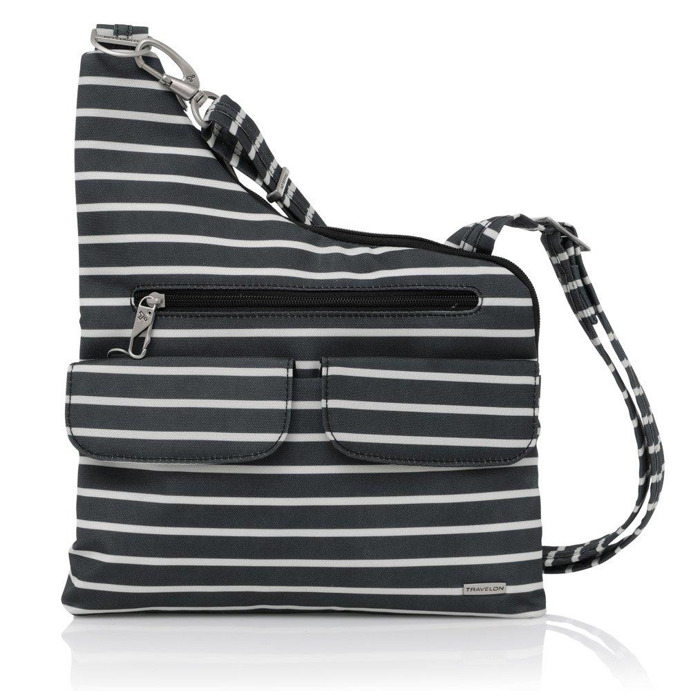 Travelon Anti-Theft Cross-Body Bag, Two Pocket (Black W/White Stripe - Exclusive Color) by Travelon