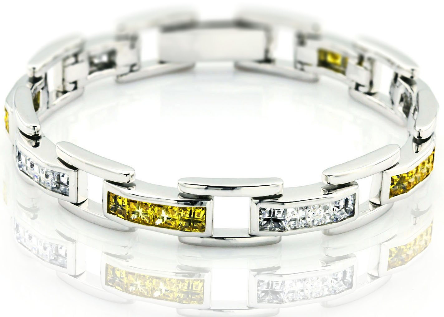 Men's Sterling Silver .925 Original design Bracelet with 32 fancy color and white Cubic Zirconia (CZ) Stones and Box Lock, Platinum Plated. Sizes available 8''