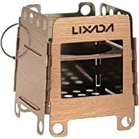 Lixada Camping Stove, Portable Stainless Steel Lightweight Folding Wood Stove Pocket Stove Outdoor Camping Cooking Picnic Backpacking Stove
