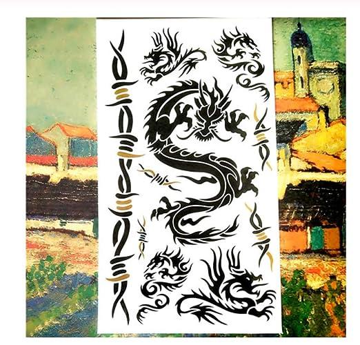 HYTGF Tatuaje Temporal Etiqueta engomada Black Dragon Totem ...