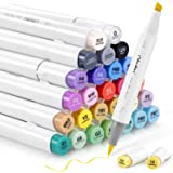 Alcohol Art Markers Set, Ohuhu Dual Tip, Brush & Chisel, Sketch Marker, Alcohol-Based Brush Markers, Comes w/ 1 Blender for S