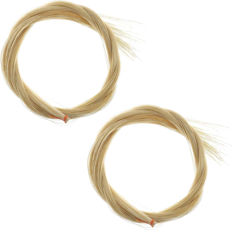 2 piezas de repuesto de crin de caballo Mongol para cabellos compatibles con violín alto violonchelo bajo, arco violín