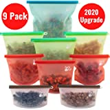 9 PACK Reusable Silicone Food Storage Bags In 4 Sizes. - Silicone Bags - Reusable Silicone Food bag - Silicone Food Storage Bag - Reusable Bags - Ziplock Containers - Food Storage - Freezer Bags - Zip