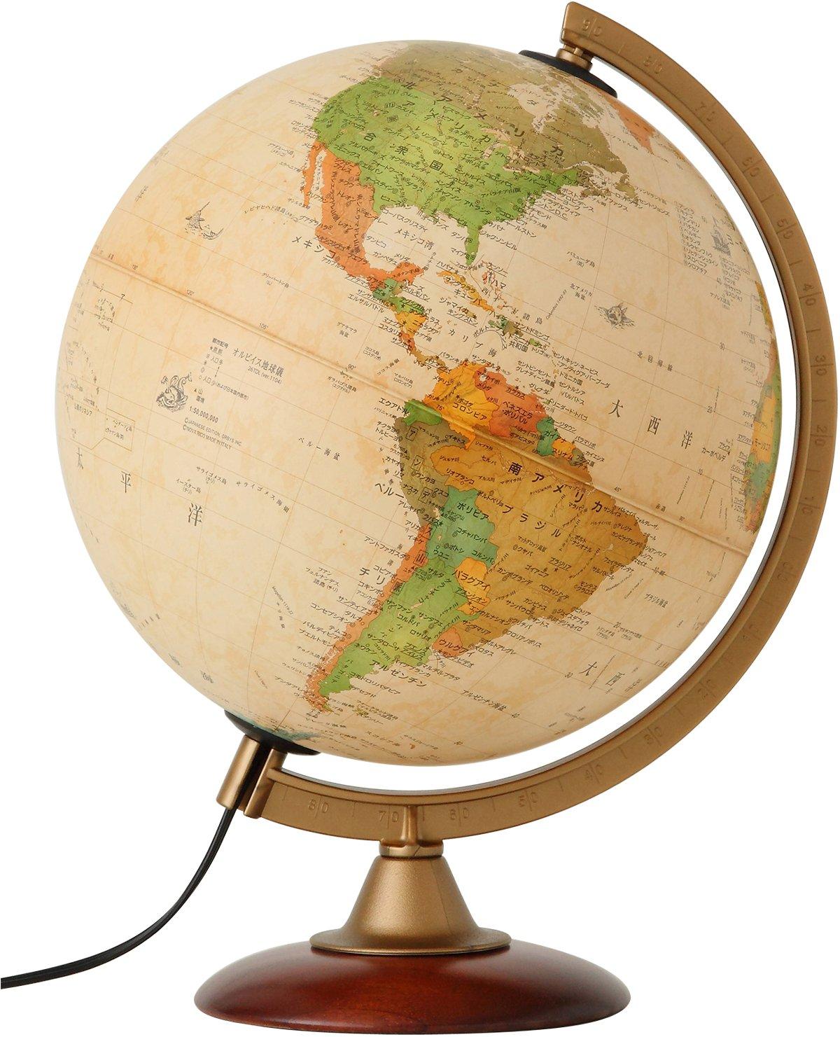 Globe (con luz)   dimetro esfrico sepia mapa 25cm (japons) / tipo pedestal de madera (japn importacin)