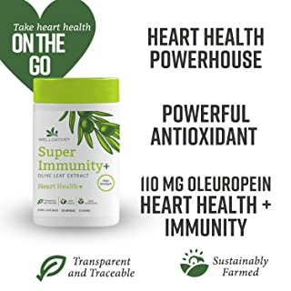 WellGrove Super Immunity Olive Leaf Extract + Heart Health Capsules | 1,100mg Olive Leaf | Natural, Traceable, Non-GMO | Immune, Heart Health, Cardiovascular, Antioxidant Supplement (120 Capsules)