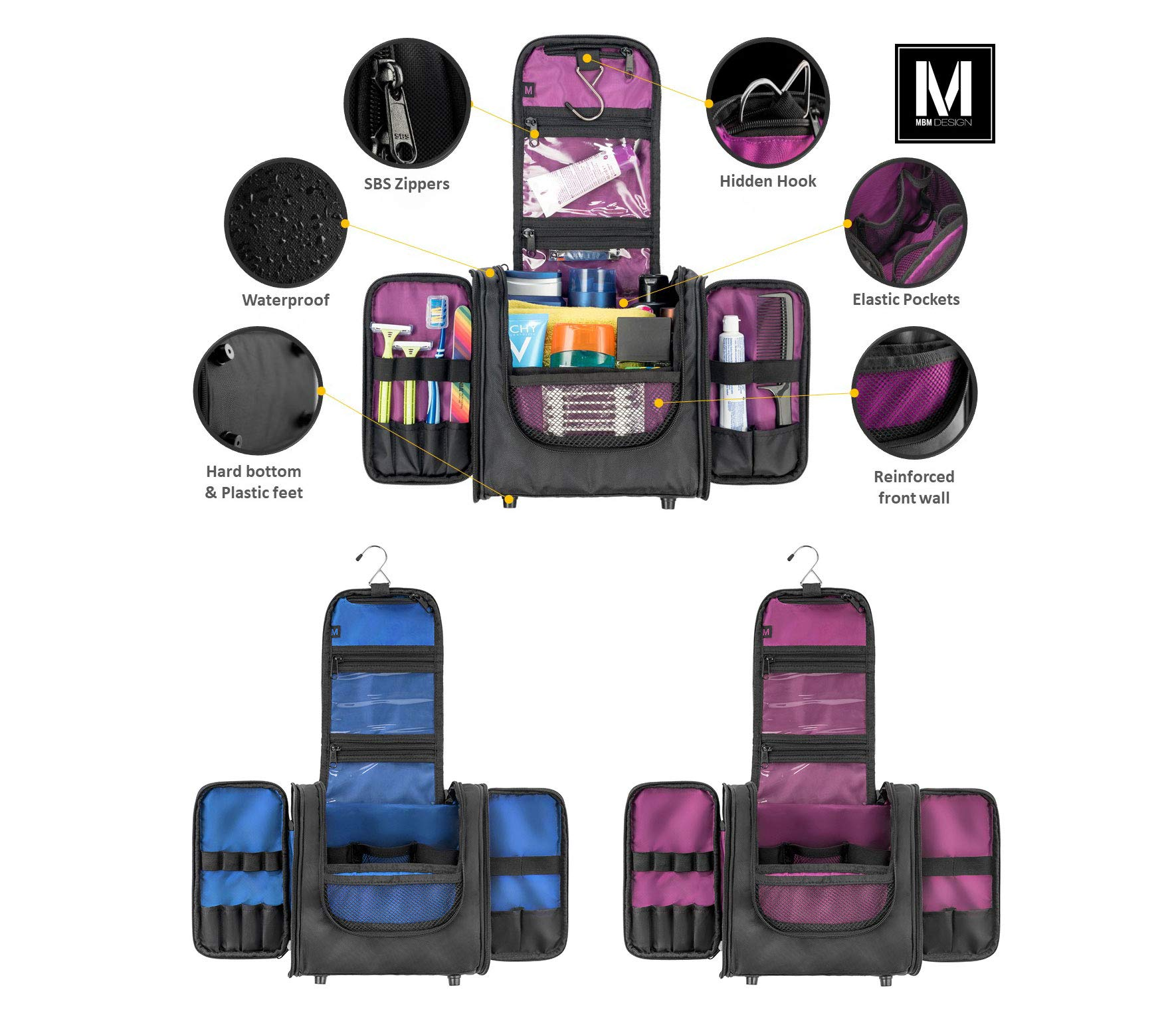 Hanging Toiletry Bag for Women and Men, Cosmetics Travel Bag, Secures Travel and Full-Size Toiletries Inside Toiletry Kit, Attaches to Roller Bag by MBM Design by MBM Design