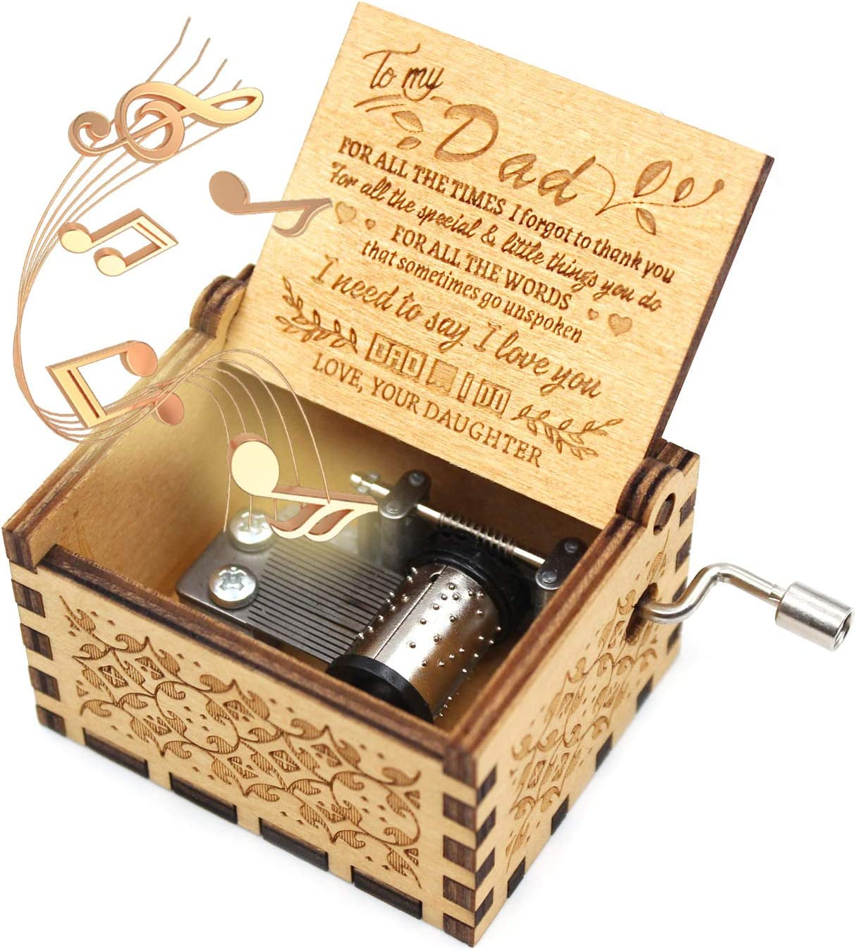 ukebobo Wooden Music Box- You are My Sunshine Music Box, from Daughter to Father, Gifts for Dad,Newest Design Music Box - 1 Set
