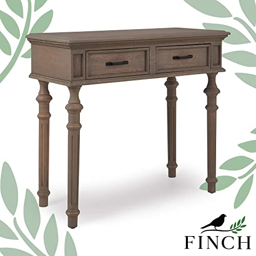 Finch Cassatt Entryway Tall Console Table with Two Storage Drawers, Curvy Wood Legs, Antique Gray