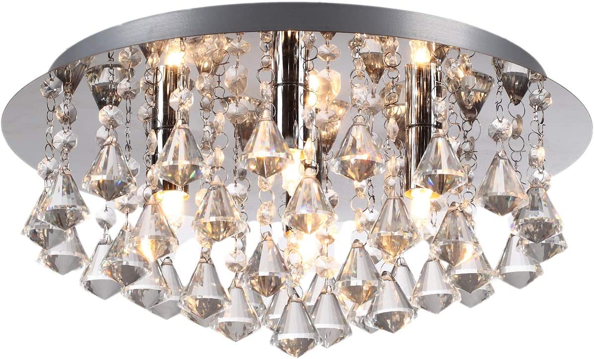 Modern 4 Light Round Crystal Droplet Chandelier Flush Ceiling Light In Chrome With Diamond Shaped Droplets Led Compatible Ideal For Low Ceilings Living Room Lounge Hallway Lighting Amazon Co Uk Lighting