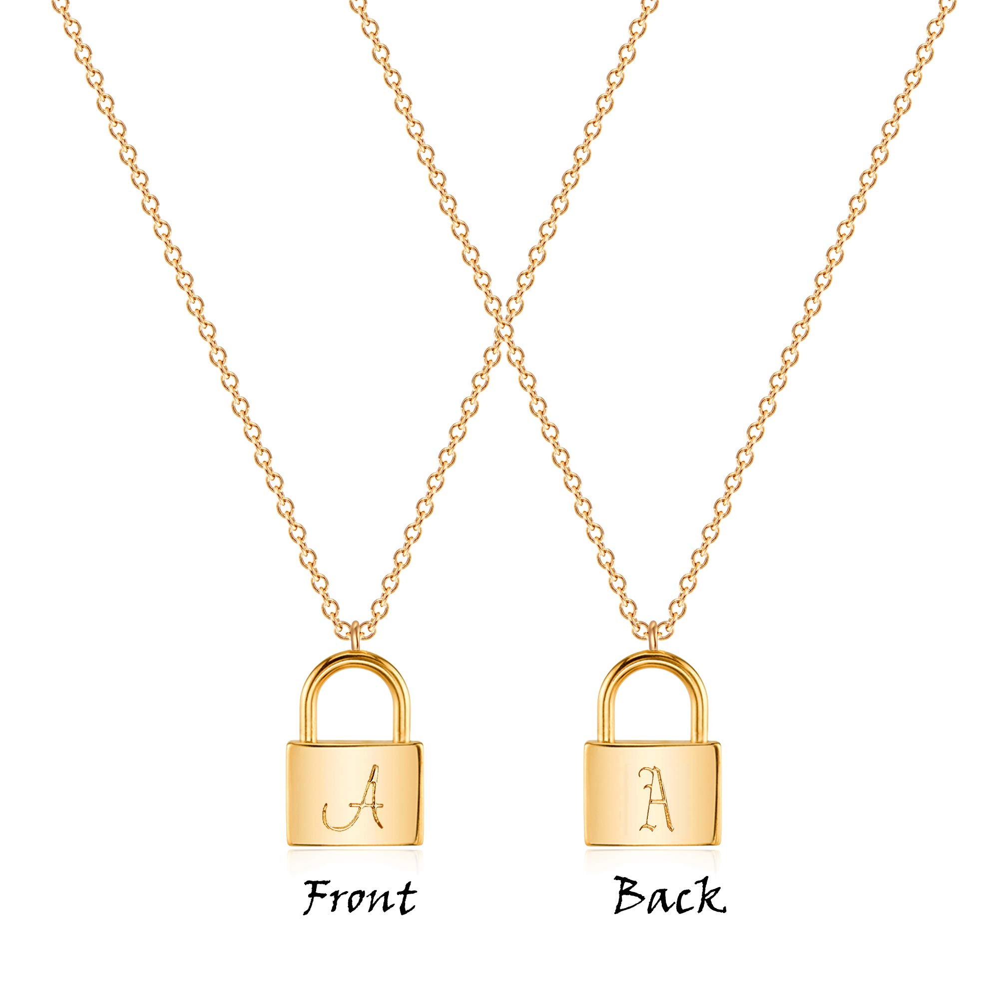 VACRONA Dainty Gold Lock Initial Necklace 18K Gold Plated Initial Padlock Layered Lock Necklace Personalized Monogram Old English Engraved Alphabet Symbol Custom Letter Necklace