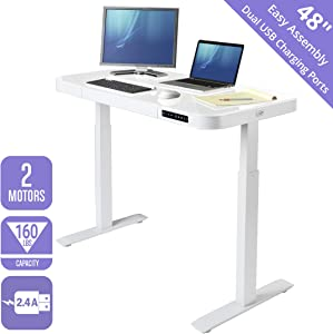 "Seville Classics OFF65873 Airlift Tempered Glass Electric Standing Desk with Drawer, 2.4A USB Ports, 3 Memory Buttons (Max. Height 47"") Dual Motors, White Top, White, White"