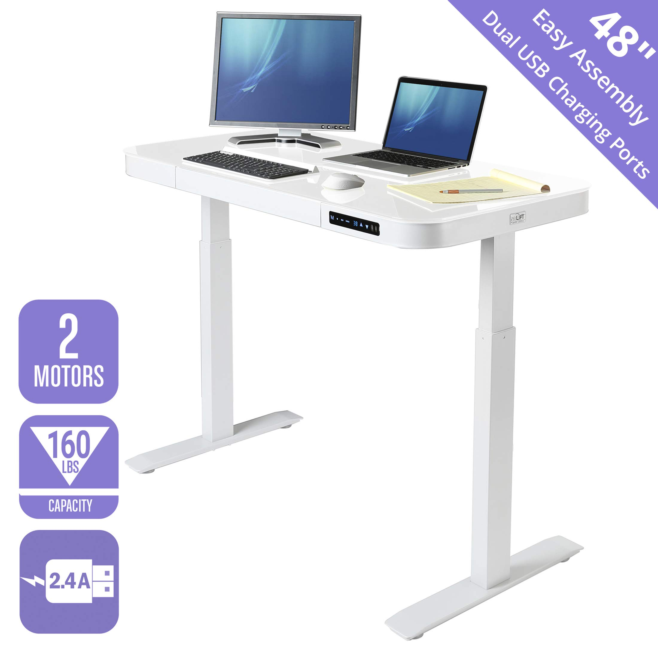 Seville Classics OFF65873 Airlift Tempered Glass Electric Standing Desk with Drawer, 2.4A USB Ports, 3 Memory Buttons (Max. Height 47'') Dual Motors, White Top, White, White by Seville Classics