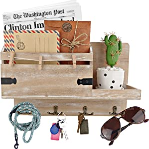 Rustic Mail Organizer Wall Mount and Key Holder for Wall, Home Office Organization. 14,5 x 9,5 Inch Entryway Organizer. Platform with Border for No Breaking, Distressed Wood Mail Sorter Letter Holder.