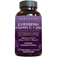 Elderberry, Vitamin C, Zinc, Vitamin D 5000 IU & Ginger Immune Support Supplement...