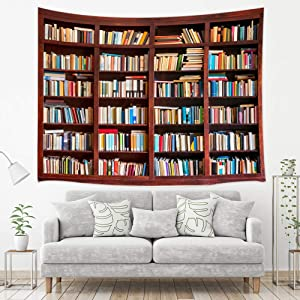 NYMB Vintage Library Tapestry, Full of Old Books on Retro Wooden Bookshelf, Tapestries Wall Hanging for Bedroom Living Study Room Dorm, 71X60 in Wall Blankets Home Decor