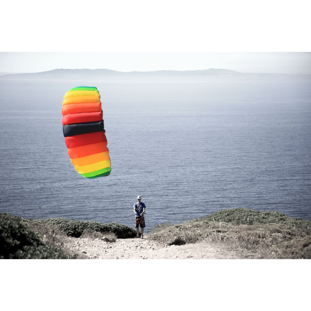 HQ Symphony Pro 2.5 Kite Rainbow Mega Tail Bundle (4 Items) + Prism 75ft Tube Tail + Peter Lynn Heavy Duty Padded Kite Control Strap Handles Pair + WindBone Kiteboarding Lifestyle Stickers
