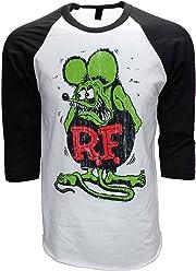 6466798d Rat Fink ED Roth Big Daddy Baseball Tee 3/4 Sleeve Raglan Jersey White/