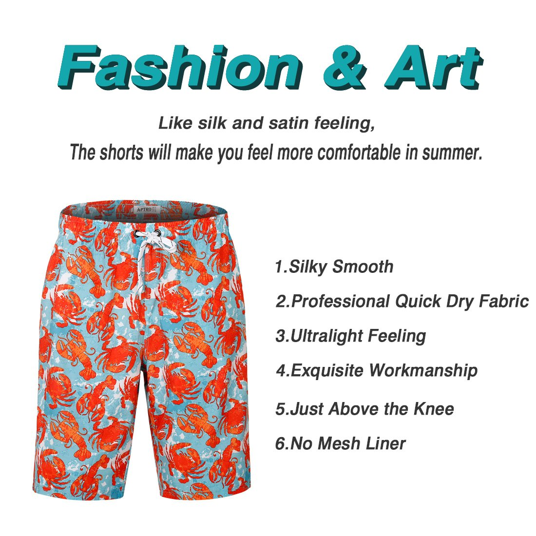 APTRO Men's Swim Trunks Crab Printing Bathing Suit #HW016 XXL by APTRO (Image #5)