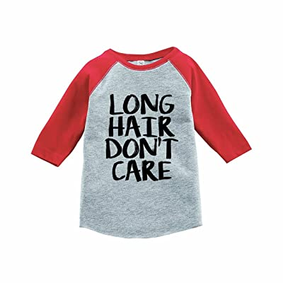 7 ate 9 Apparel Funny Kids Long Hair Don't Care Baseball Tee Red
