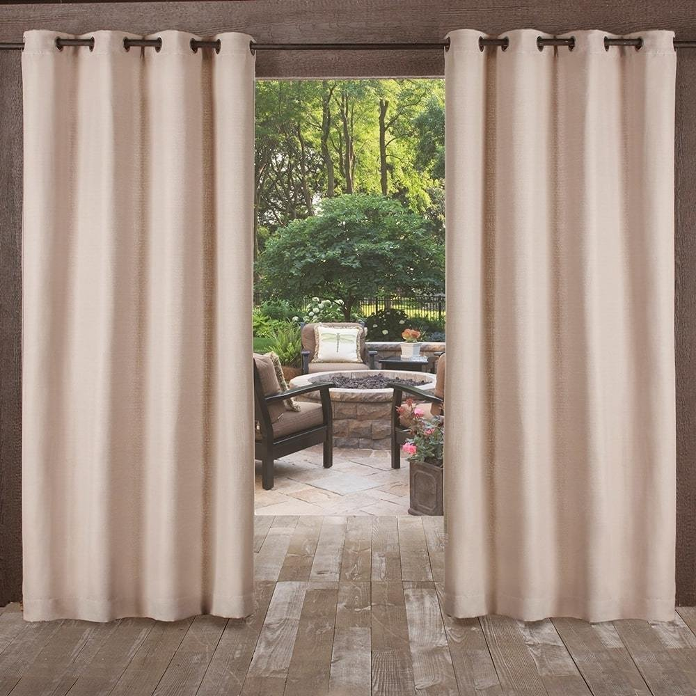 UK4 2 Piece 84 Inch Light Brown Indoor Outdoor Heavy Textured Gazebo Curtain, Taupe Window Treatment Panel Pair, Patio Porch Cabana Dock Beach Home Grommet Top Pergola Drapes, Contemporary Polyester