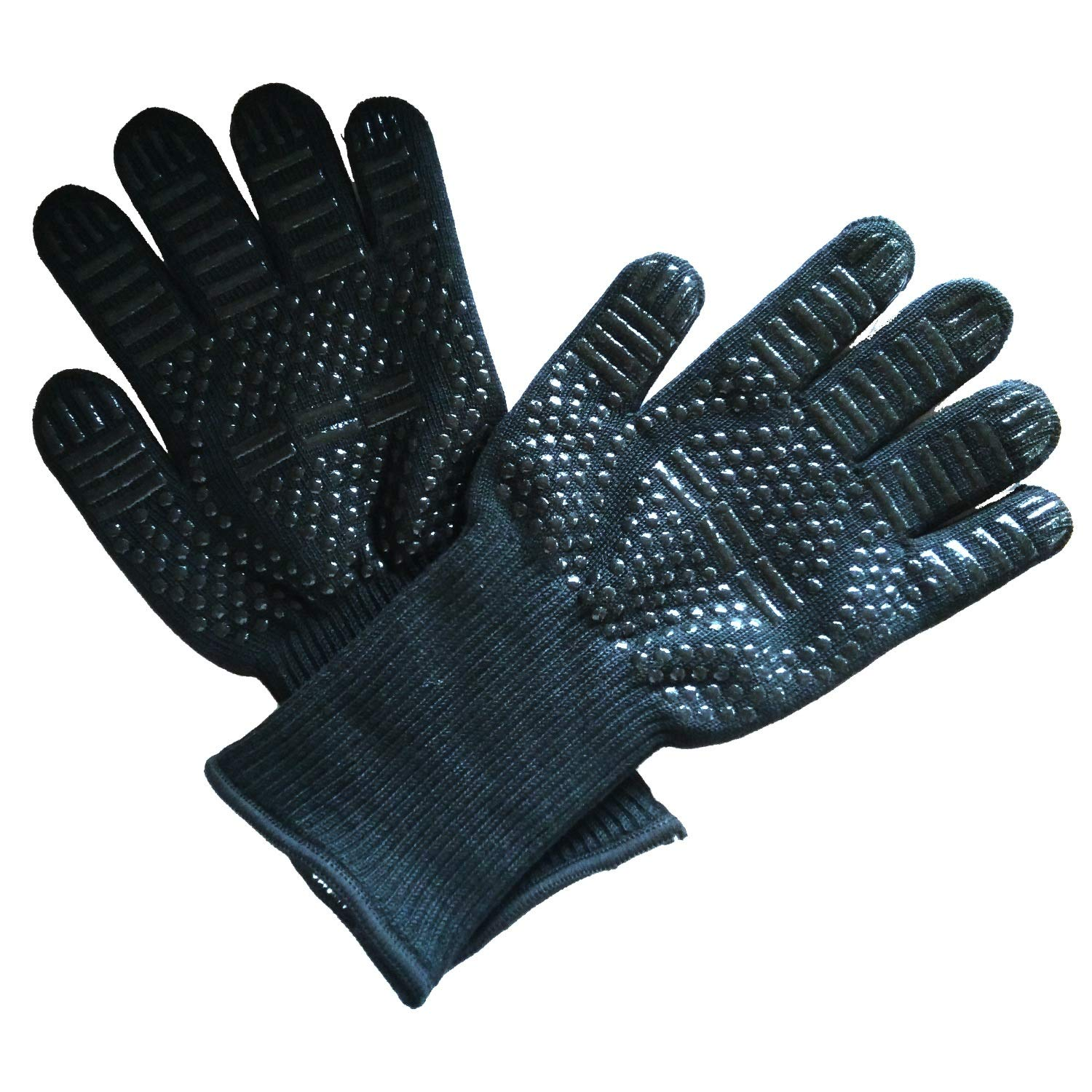 ZJYSM Comfortable Wearable Flexible Lightweight BBQ High Temperature 800 Degree Gloves Aramid Silicone Barbecue Microwave Oven Fire Insulation Flame Retardant Gloves Gloves