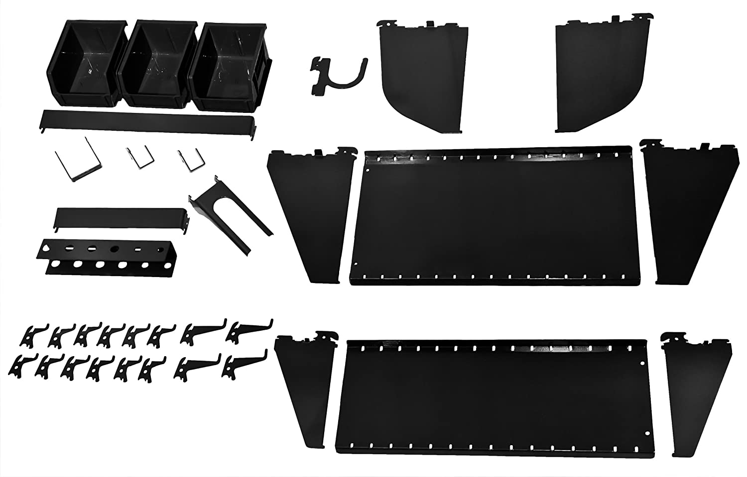 Wall Control KT 400 WRK B Slotted Tool Board Workstation Accessory Kit for Wall Control Pegboard Only Black