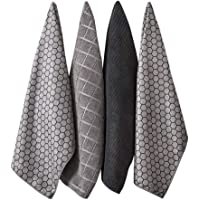 Ladelle Set of 4 Microfibre Honeycomb Charcoal Tea Towels