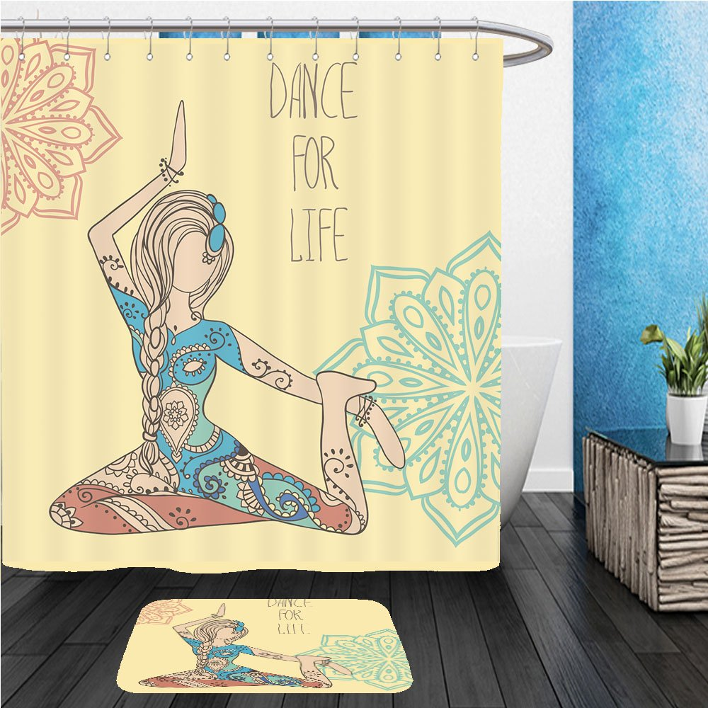 Beshowereb Bath Suit: ShowerCurtian & Doormat Beautiful dance for life