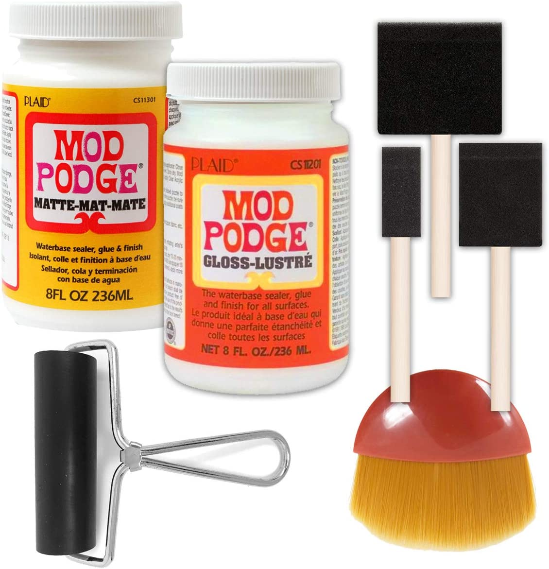 Mod Podge Bundle, 8 Ounce Gloss and Matte Medium, 3 Pixiss Foam Brushe, 4 Inch Brayer, Waterproof Sealer