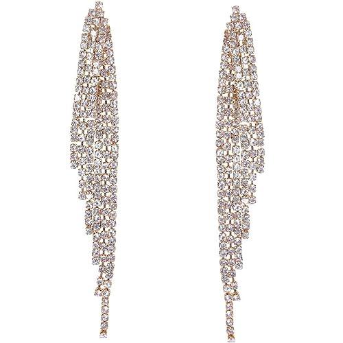 28805baee355e6 Humble Chic Simulated Diamond Earrings - Darling Waterfall Tassel CZ  Statement Chandelier Studs, Gold-