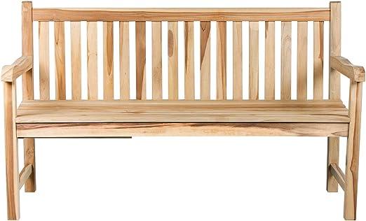 CHICREAT - Banco de tres asientos de madera de teca, banco de jardín de madera de teca con bandeja, aproximadamente 150 cm de ancho: Amazon.es: Jardín