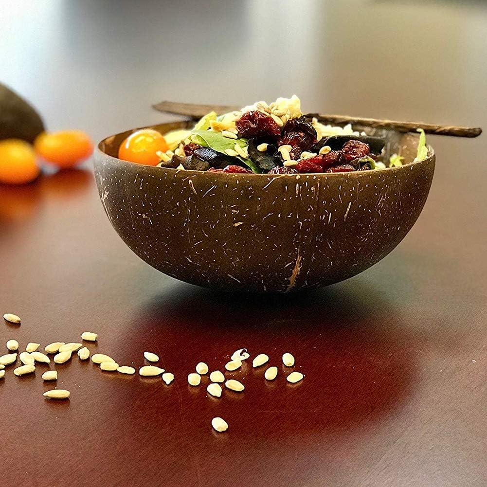 1PC Xnbnsj Noix de Coco Bols Naturel Durable pour Petit D/éjeuner D/écoration Fait /à la Main avec Recycl/é Noix de Coco Coque Bol
